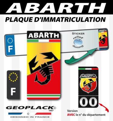 FIAT ABARTH autocollant 43x88 mm. Lot de 2.