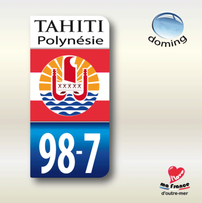 TAHITI POLYNESIE 987 Dom Tom autocollant 43x88 mm. Lot de 2.