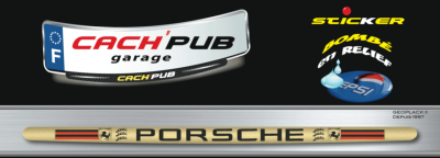 PORSCHE sticker plaque d'immatriculation Cach'Pub 1702-2-1