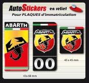 FIAT ABARTH STICKERS plaque d'immatriculation1716-2
