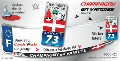 CHAMPAGNY EN VANOISE STICKER PLAQUE D'IMMATRICULATION