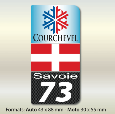 SAVOIE 73 COURCHEVEL autocollant 43x88 mm. Lot de 2.