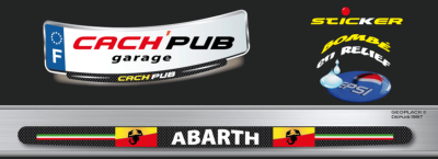 FIAT 500 ABARTH sticker plaque d'immatriculation Cach'Pub 1716-3