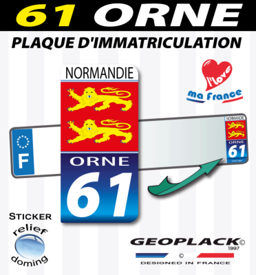 ORNE 61 NORMANDIE autocollant 43x88mm. Lot de 2.