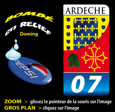 ARDECHE 07 sticker plaque d'immatriculation 1806-38-11