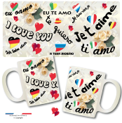 Mug AMOUR I LOVE YOU JE T'AIME international