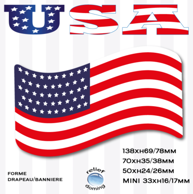 USA sticker forme drapeau