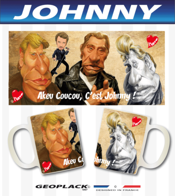 JOHNNY HALLYDAY FAN CLUB caricatures tasse mug