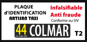 "TAXI plaque d'identification C 1806-18-T2 ""HAUTE SECURITE"""